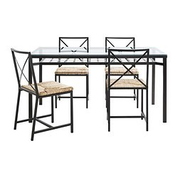 GRANÅS Table And 4 Chairs Black, Glass - IKEAPEDIA