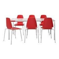 Torsby vilmar table et 6 chaises verre blanc rouge ikea for Chaise ikea vilmar