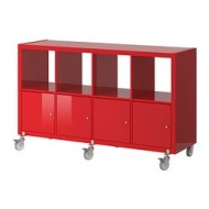 Kallax Shelving Unit 4 Doors Castors High Gloss Red Ikea United