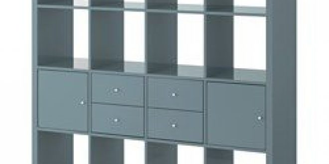 Kallax Shelf Unit With 4 Inserts High Gloss Gray Turquoise Ikea