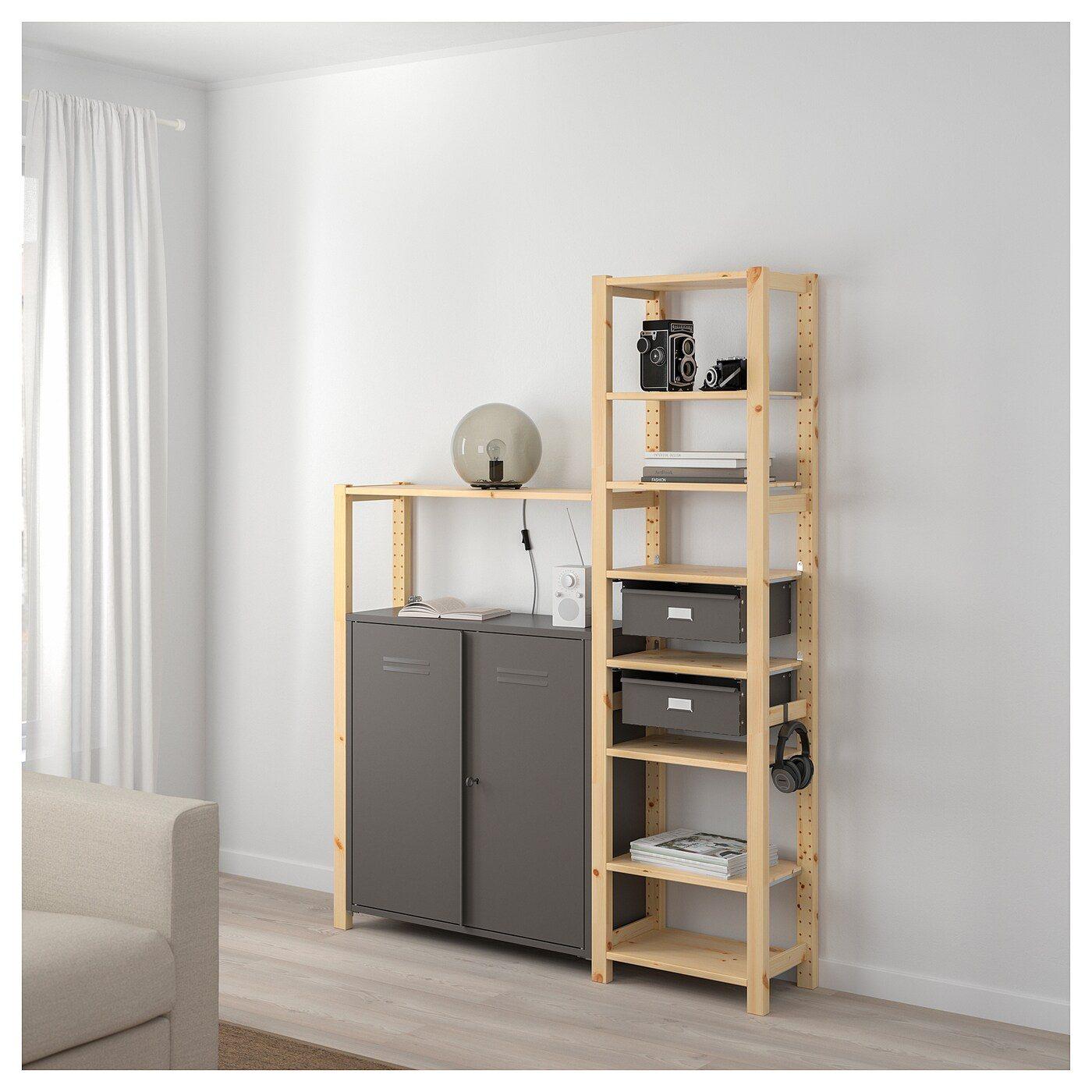 Ikea Scaffali Legno Ivar ivar 2 sezioni/ripiani/mobile ivar pino, grigio (ikea italy