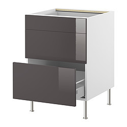 Faktum l ment bas 3 tiroirs abstrakt gris ikea france for Cuisine ikea faktum abstrakt gris