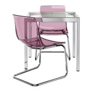Glivarp tobias table et 2 chaises transparent chrom for Chaise tobias ikea