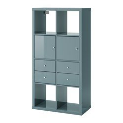 kallax shelf unit with 4 inserts high gloss gray turquoise ikea united states ikeapedia. Black Bedroom Furniture Sets. Home Design Ideas