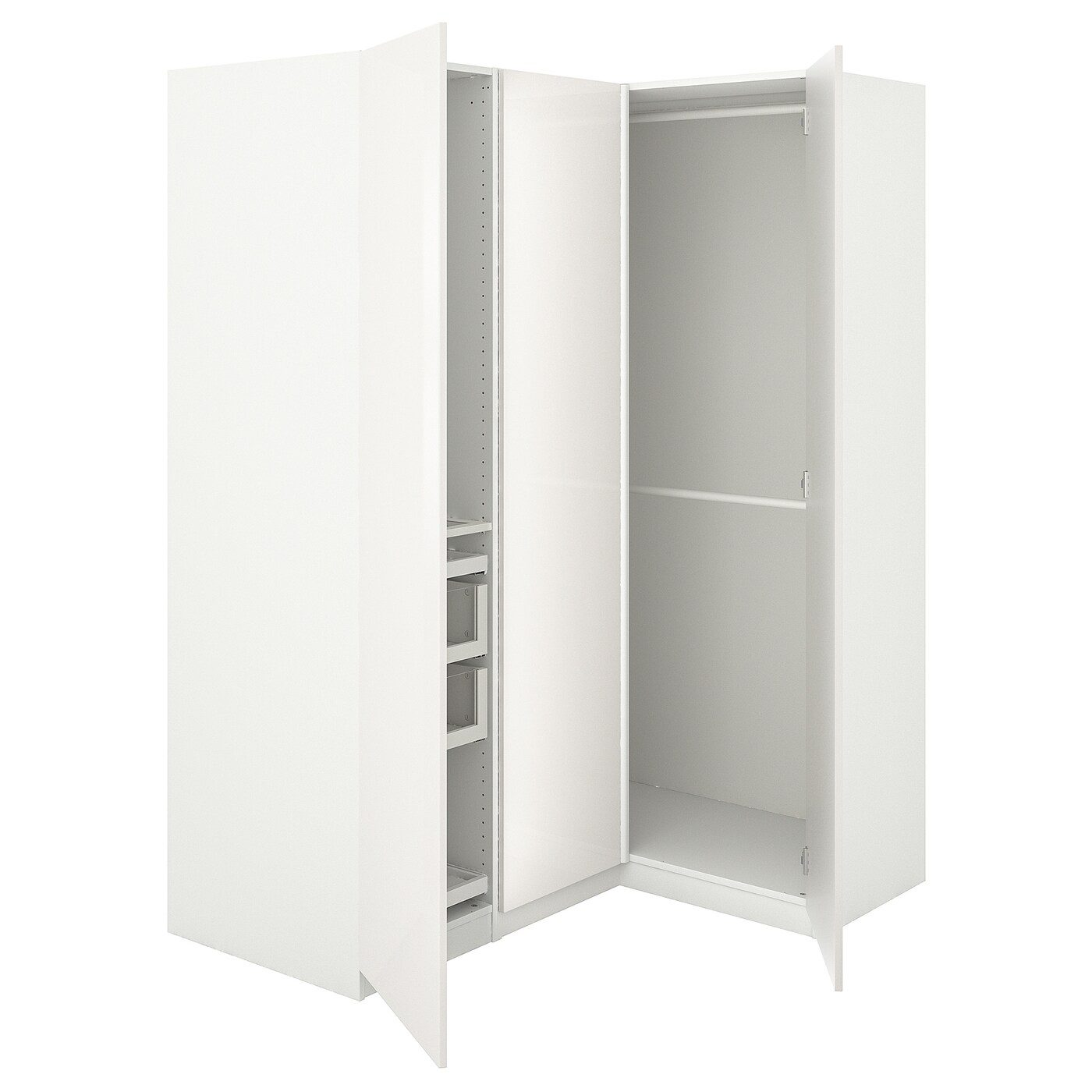 Pax Corner Wardrobe White Fardal High Gloss White Ikea United