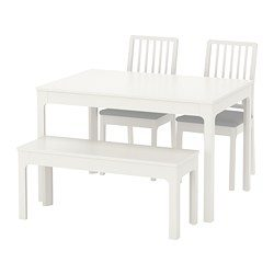 Ekedalen Ekedalen Table With 2 Chairs And Bench White