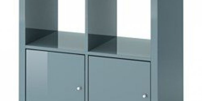 Kallax Shelving Unit With Doors High Gloss Gray Turquoise Ikea