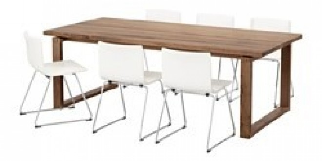 M rbyl nga bernhard tavolo e 6 sedie marrone kavat for Chaise bernhard ikea