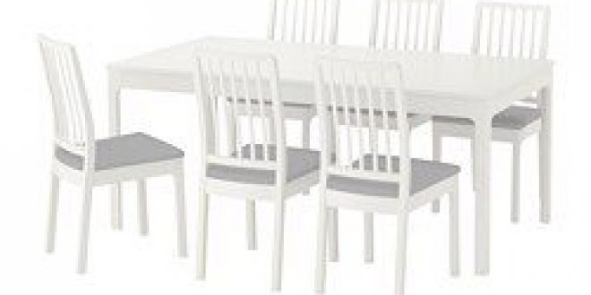 Ekedalen Ekedalen Table And 6 Chairs White Orrsta Light Gray