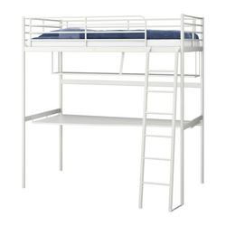 Loft Bed Frame With Desk Top White