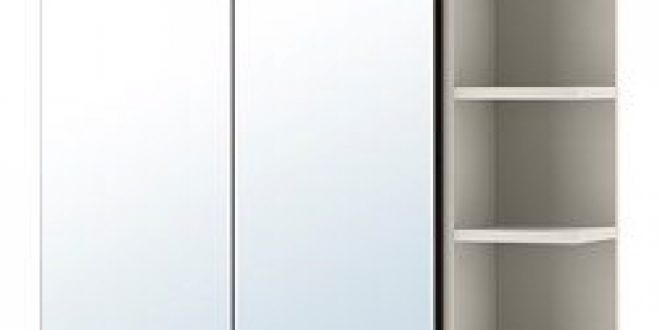 Lill ngen mobile a specchio 2 ante 1 scaffale marrone nero - Lillangen specchio ...