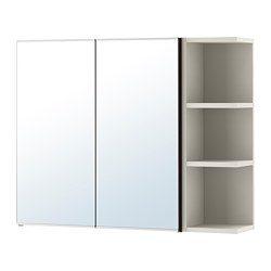 Lill ngen mobile a specchio 2 ante 1 scaffale marrone nero - Lillangen mobile specchio ...