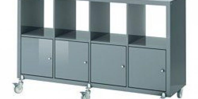 Kallax Shelf Unit On Casters With 4 Doors High Gloss Gray Turquoise