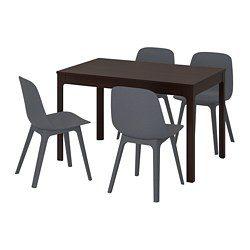 EKEDALEN ODGER Table et 4 chaises brun foncé, bleu (IKEA