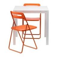 Ikea Sedie Pieghevoli Nisse.Melltorp Nisse Tavolo E 2 Sedie Pieghevoli Bianco Arancione Ikea