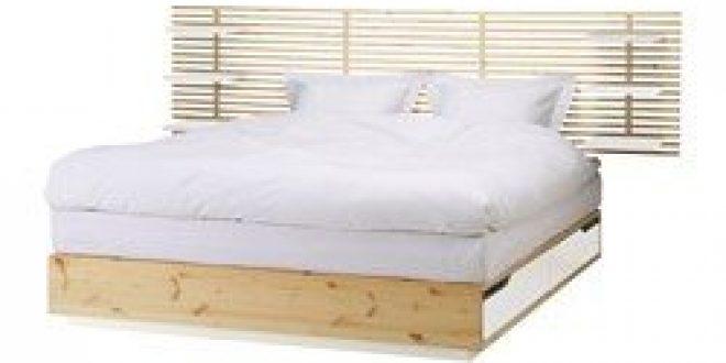 Mandal structure lit avec t te de lit bouleau blanc ikea - Tete de lit mandal ...
