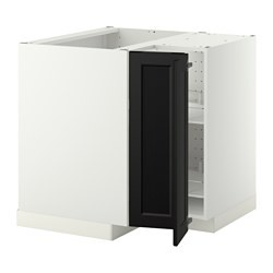 metod corner base cabinet with carousel white laxarby black brown ikea united kingdom ikeapedia. Black Bedroom Furniture Sets. Home Design Ideas