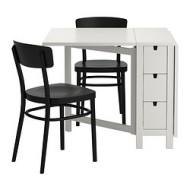 norden idolf table et 2 chaises blanc noir ikea france ikeapedia. Black Bedroom Furniture Sets. Home Design Ideas