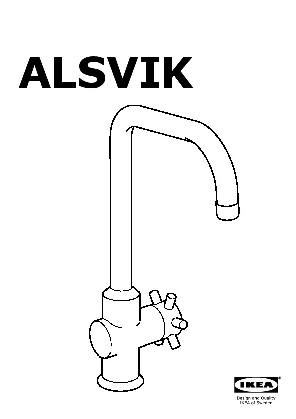ALSVIK Single lever kitchen faucet stainless steel color (IKEA ...