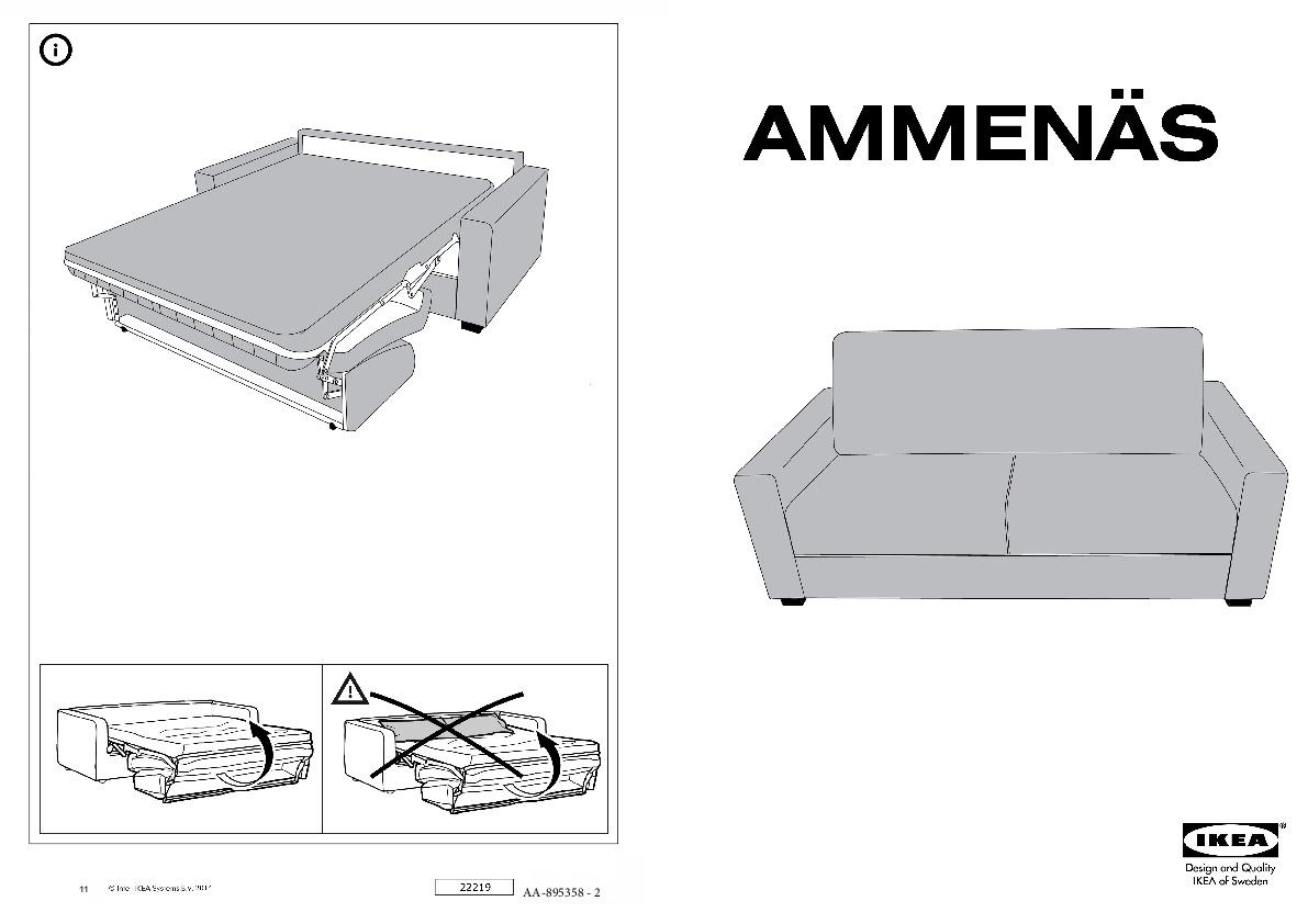 AMMENÄS Divano letto a 3 posti Dansbo grigio scuro (IKEA ...
