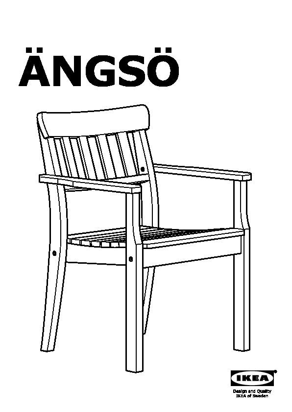 Ngs tavolo 4 sedie braccioli giardino con mordente nero - Sedia con braccioli ikea ...