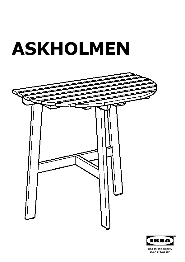Askholmen tavolo balcone 2 sedie pieghevoli grigio marrone - Tavolo balcone ikea ...