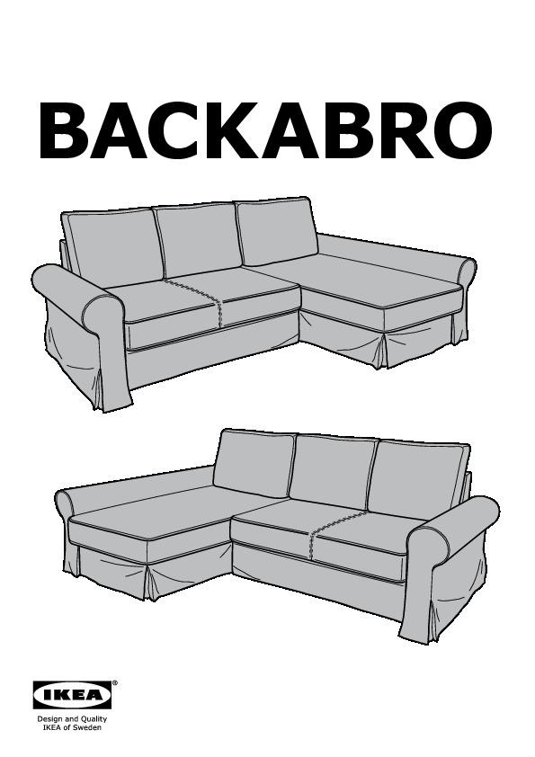 Backabro marieby divano letto con chaise longue ikea - Fodera divano con chaise longue ...
