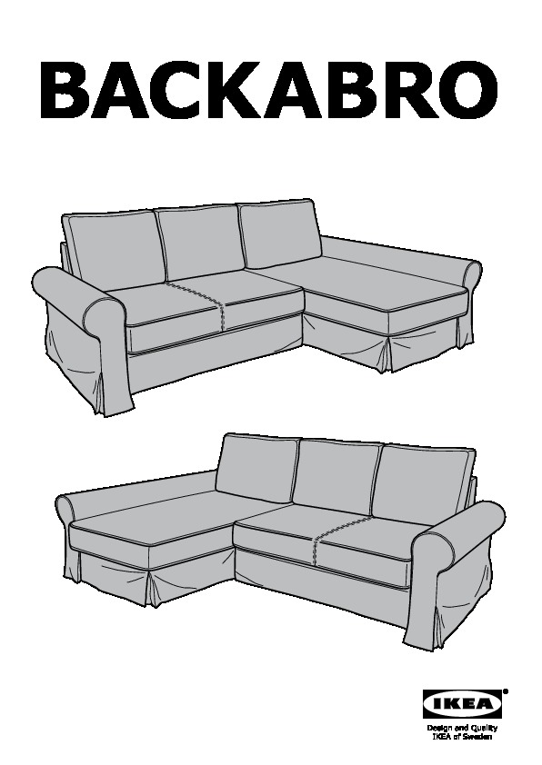 Backabro marieby divano letto con chaise longue ikea for Struttura letto divano