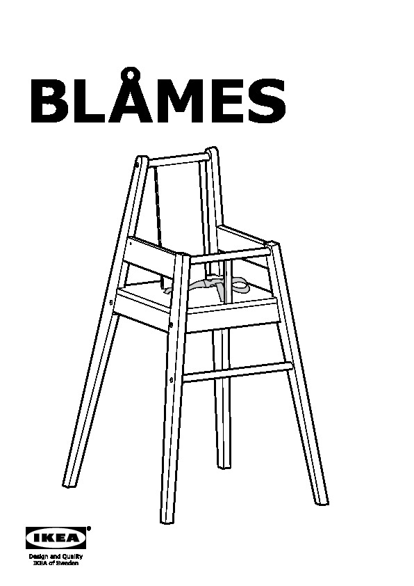 BLÅMES Structure chaise haute+tablette noir (IKEA France
