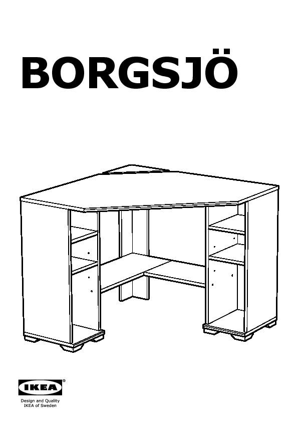 Borgsj bureau d 39 angle blanc ikea france ikeapedia for Bureau d angle ikea