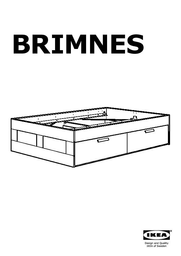 BRIMNES Bed frame with storage & headboard black, Lönset (IKEA ...