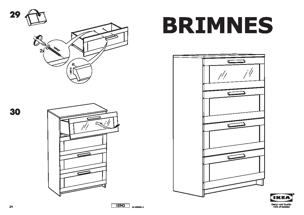 BRIMNES Chest of 4 drawers oak effect, frosted glass (IKEA United Kingdom) IKEAPEDIA
