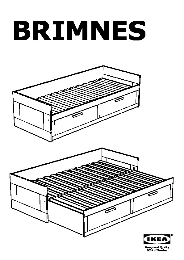 Brimnes daybed frame with 2 drawers white minnesund firm for Manuel ikea daybed