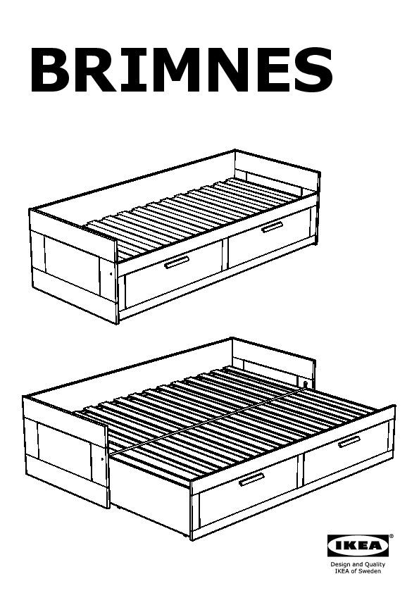 BRIMNES Lit d'appoint, 2 tiroirs 2 matelas blanc, Meistervik ferme (IKEA Canada (French