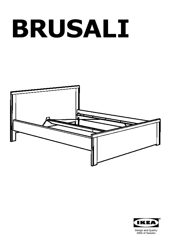 BRUSALI Bed frame with 4 storage boxes brown, Leirsund (IKEA United ...