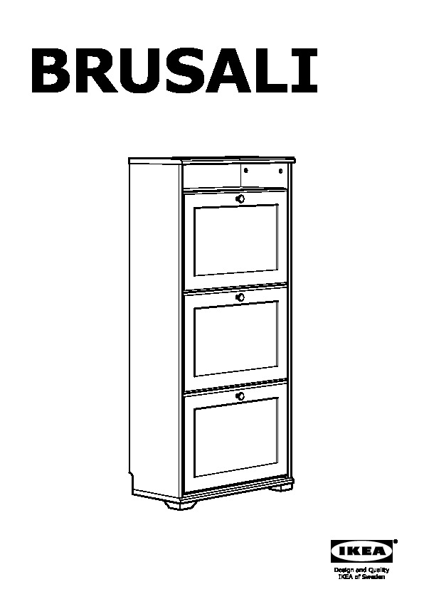 Brusali Shoe Cabinet With 3 Compartment