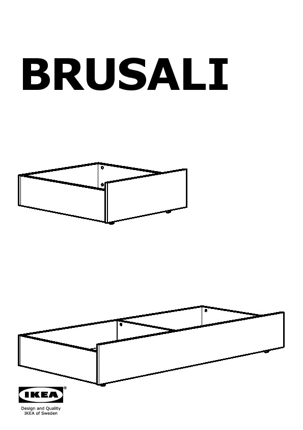 BRUSALI Underbed storage box set of 2  sc 1 st  IKEADDICT & BRUSALI Bed frame with 4 storage boxes brown Leirsund (IKEA United ...