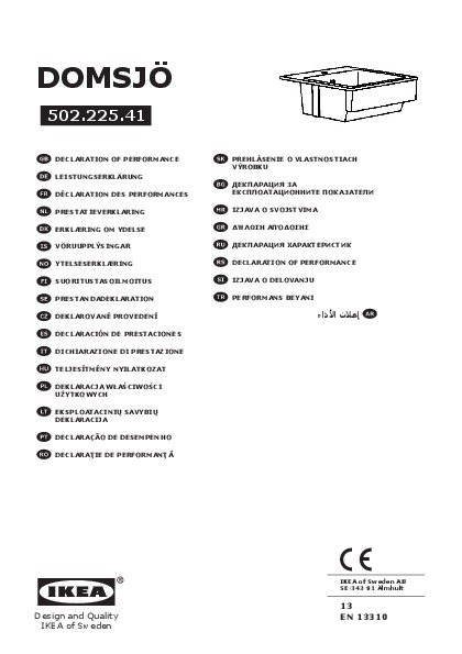 domsj vier 1 bac blanc ikea france ikeapedia. Black Bedroom Furniture Sets. Home Design Ideas