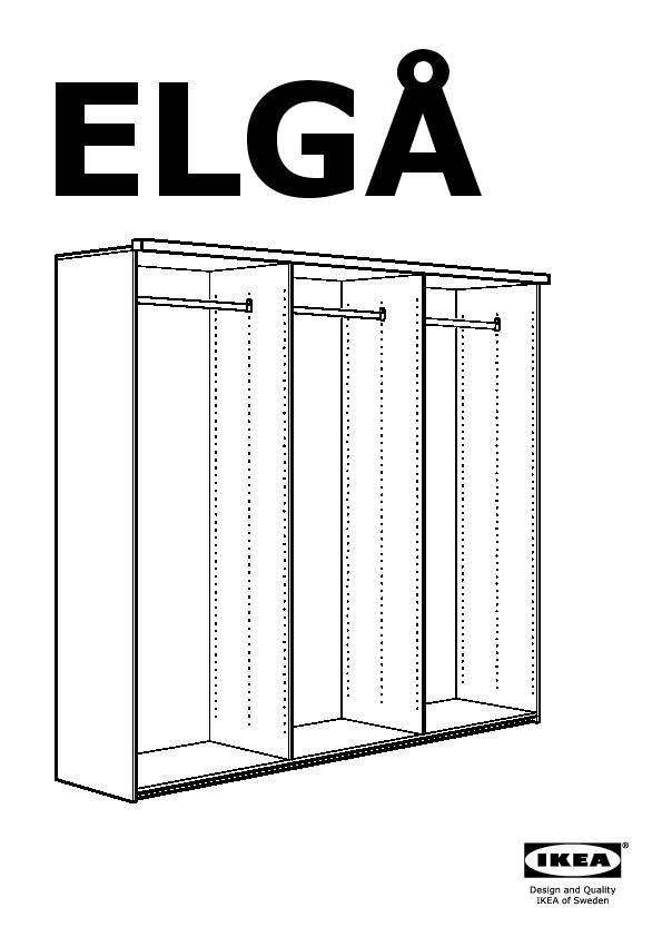 Elgå Armoire 3portes Coulissantes Gris Engan Fenstad Ikea