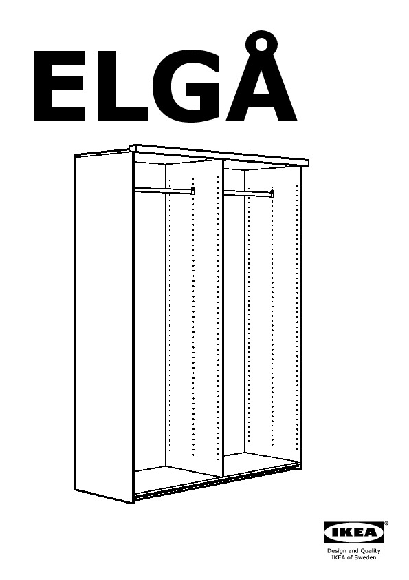 elg wardrobe with 2 sliding doors white aneboda white. Black Bedroom Furniture Sets. Home Design Ideas