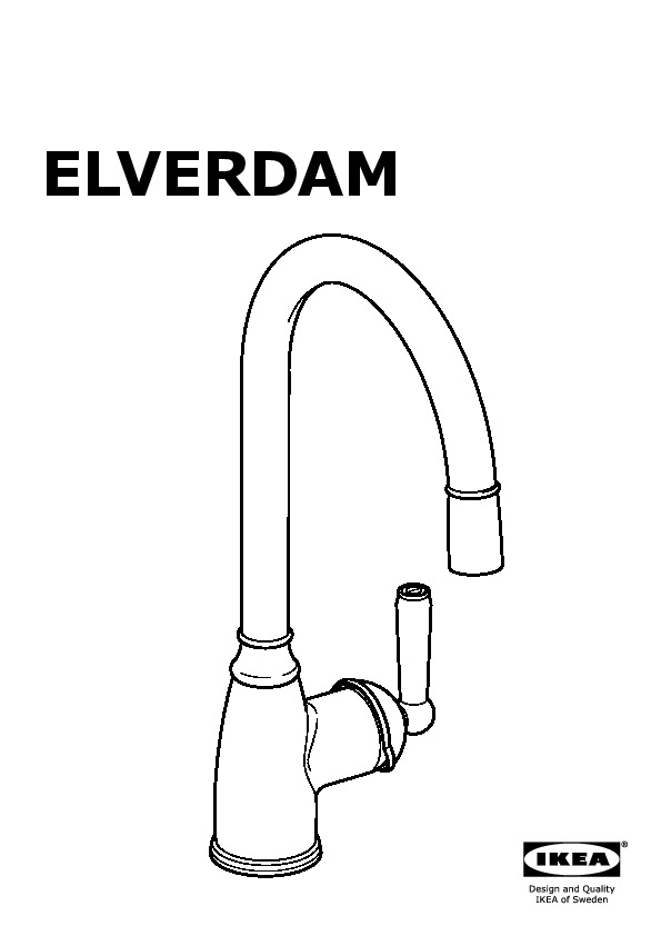ELVERDAM Single lever kitchen faucet pull-out, stainless ...