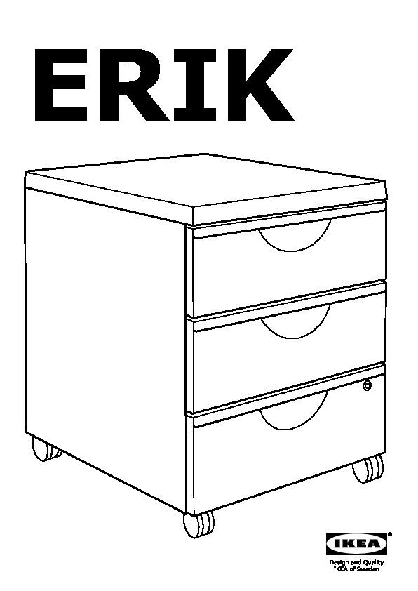 erik caisson 3 tiroirs sur roulettes blanc ikea france ikeapedia. Black Bedroom Furniture Sets. Home Design Ideas