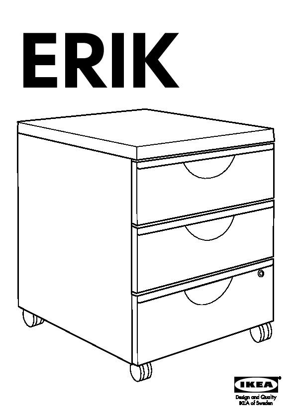 Ikea Cassettiera Con Rotelle.Erik Cassettiera 3 Cassetti Con Rotelle Bianco Ikea Italy