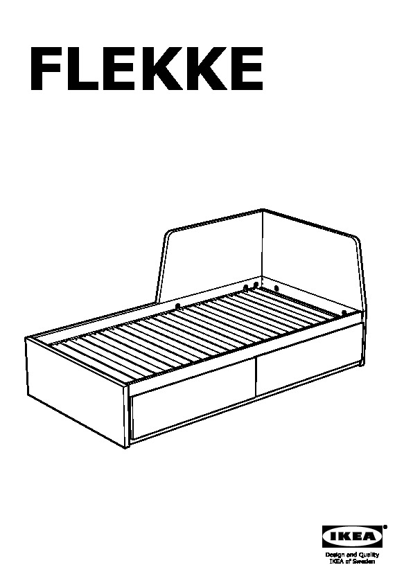 Flekke daybed with 2 drawers 2 mattresses black brown for Manuel ikea daybed