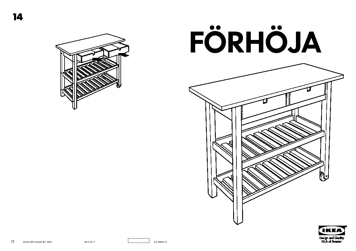 Fixer Ilot Central Au Sol ~ F Rh Ja Desserte Bouleau Ikea France Ikeapedia