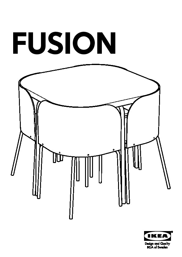 Fusion table et 4 chaises brun noir chrom ikea france for Table de fusion ikea