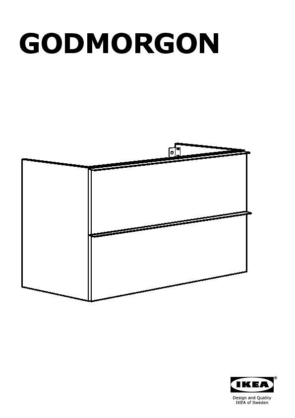 Godmorgon odensvik wash stand with 2 drawers high gloss for Montage des stands