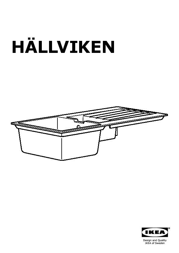 Hällviken évier Intégré 1 Bac ½ Av égouttoir Noir Composite De