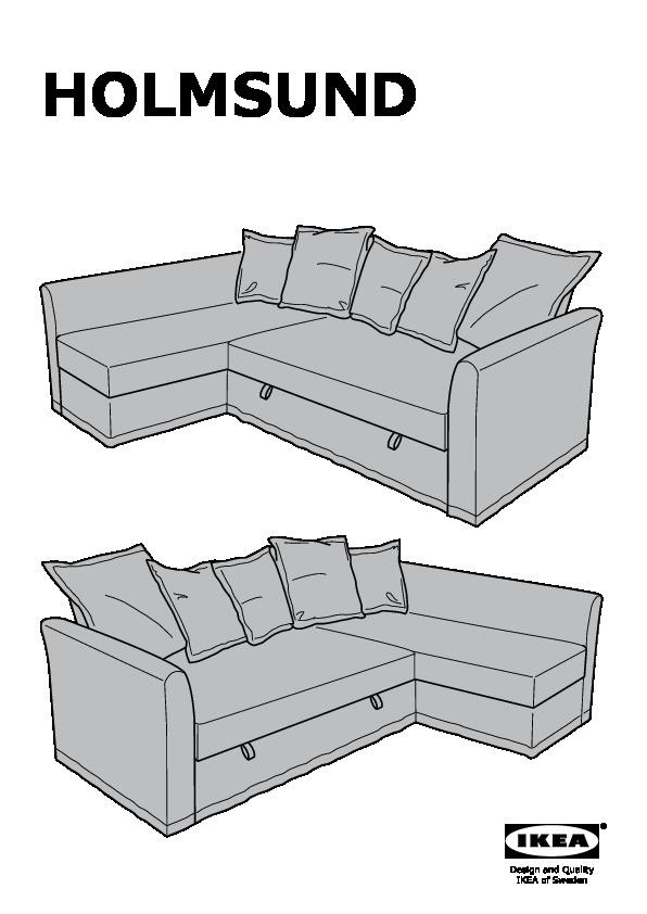 Holmsund Sofa Bed With Chaise Nordvalla Medium Gray Ikea United