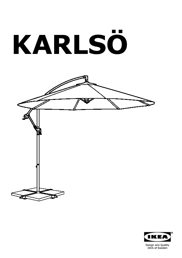 karls svart parasol suspendu avec socle noir gris fonc ikea france ikeapedia. Black Bedroom Furniture Sets. Home Design Ideas